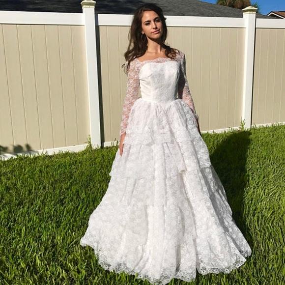 1950s White Lace Tiered Rhinestone Wedding Gown   Poshmark